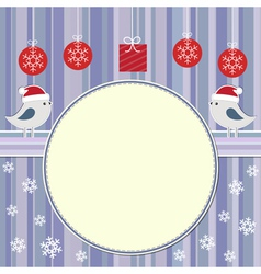 Christmas frame with two cute birds vector image vector image