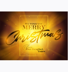 christmas greeting card with typography frame vector image vector image