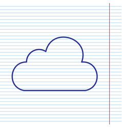 Cloud sign navy line icon on vector