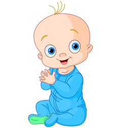 Cute baby boy clapping hands vector