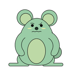 Cute grumpy mouse icon image vector