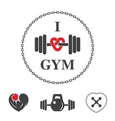 Emblem i love gym vector image