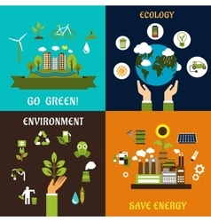 Environment ecology and save energy icons vector