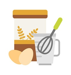 Flour and eggs for making dough with beater in a vector