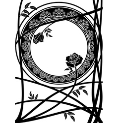 frame with branches of roses vector image