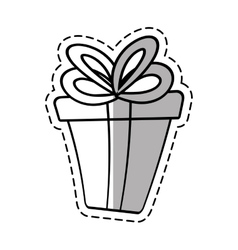 Gift box ribbon event celebrate linea shadow vector