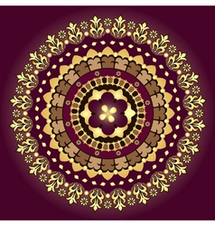 Gold and purple vintage round pattern vector