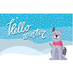 Hello winter poster with spotted grey dog collar vector