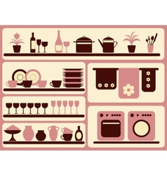 Kitchen ware and home objects set vector image