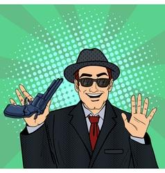 Mafioso with gun retro mafia man pop art vector
