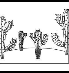 Monochrome background with cactus and desert vector