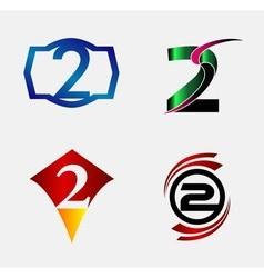Number logo design number two logo logo 2 t vector