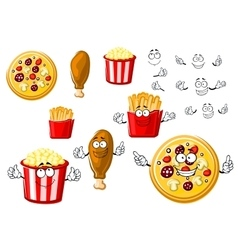 Pizza chicken leg french fries and popcorn vector image