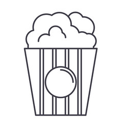 popcorn line icon sign on vector image vector image