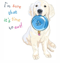 puppy dog Labrador Retriever with bowl for food vector image vector image