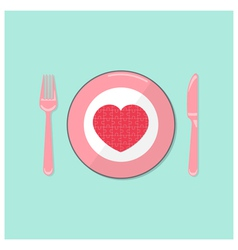 Puzzle heart on disk with fork and spoon vector image
