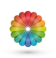 Rainbow flower balloon logo vector