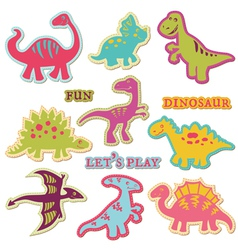 Scrapbook design elements - cute dinosaur set vector