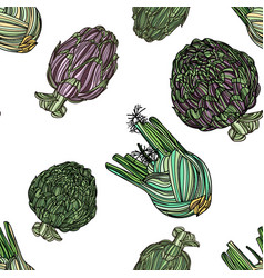 Seamless pattern with fennel and artichoke vector