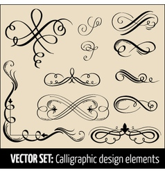 set of calligraphic design elements and pag vector image