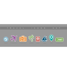 Travel flat icons set elements vector image