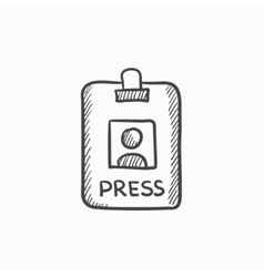 Press pass id card sketch icon vector