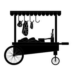 Meat food cart icon vector