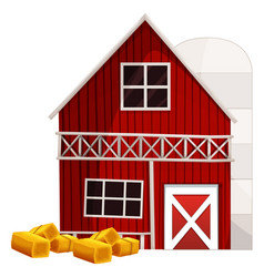 red barn and silo vector image