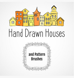 Houses and brushes vector