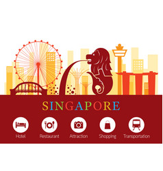 Singapore landmarks skyline with accommodation vector