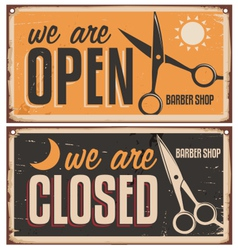 Retro door signs for barber shop vector image