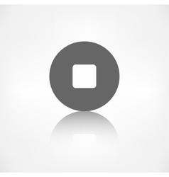 Stop icon media player button vector