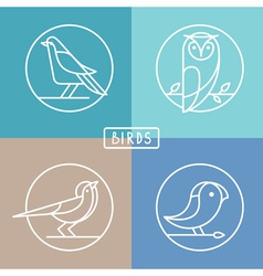 bird icons in outline style vector image