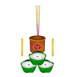 Delicious chinese pudding for new year worship vector