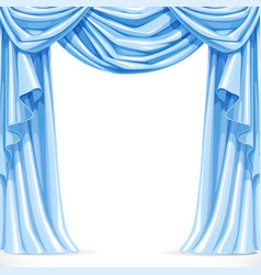 Big blue curtain draped with pelmet isolated on a vector