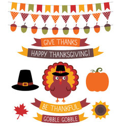 Thanksgiving design elements set vector image