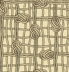 Seamless pattern of ropes grid with marine knotes vector