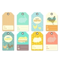 Happy easter gift tags vector