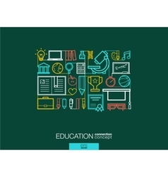Education integrated thin line symbols modern vector