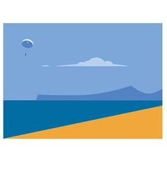 Sea landscape and beach vector