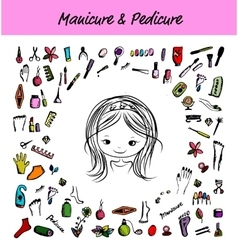 Manicure and pedicure set sketch for your design vector