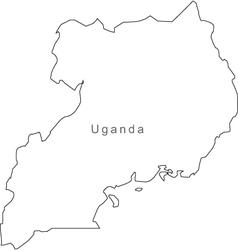 Black white uganda outline map vector