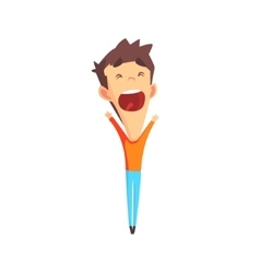 Brown hair male character rejoicing vector