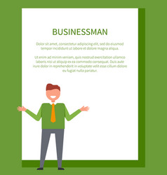 business poster with businessman in green sweater vector image vector image