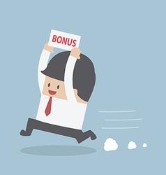 Businessman is happy because he got bonus money vector image