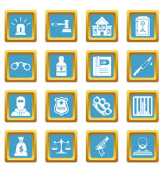 Crime and punishment icons azure vector