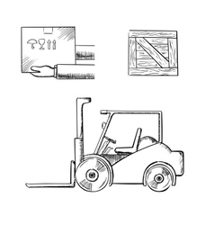 Delivery box crate and forklift truck vector image