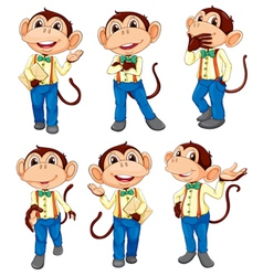 Different positions of a monkey vector image vector image