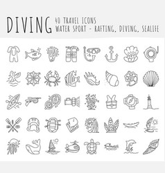 diving hand draw icon set diving equipment vector image