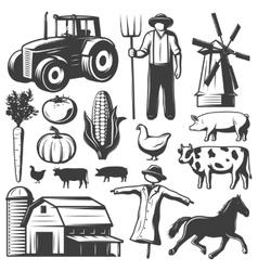 Farming Monochrome Elements Set vector image vector image